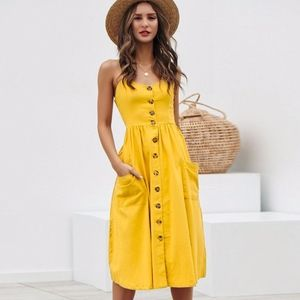 Yellow Buttoned Cami Fit and Flare Midi Dress